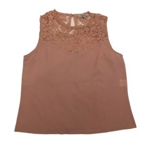 NEW! Lace Neck Blush Sleeveless Blouse